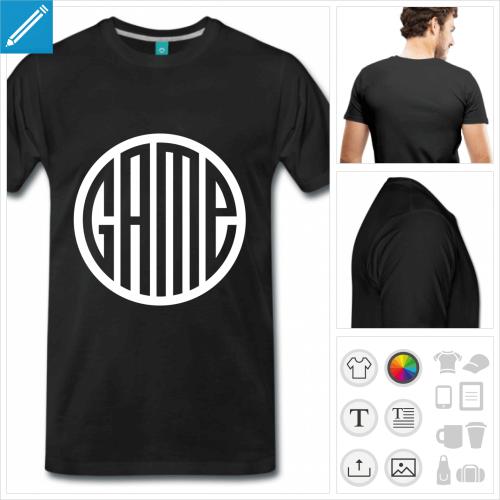 T-shirt game personnalisable, game découpé en typo formant un rond sur fond opaque.