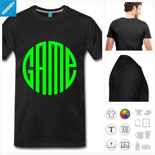 T-shirt game écrit en forme de cercle à imprimer en ligne.