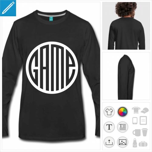 t-shirt noir game à personnaliser et imprimer en ligne
