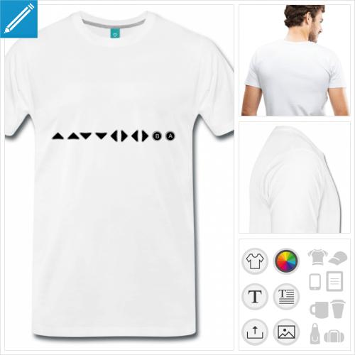T-shirt gaming, konami code représenté en touche de manette.