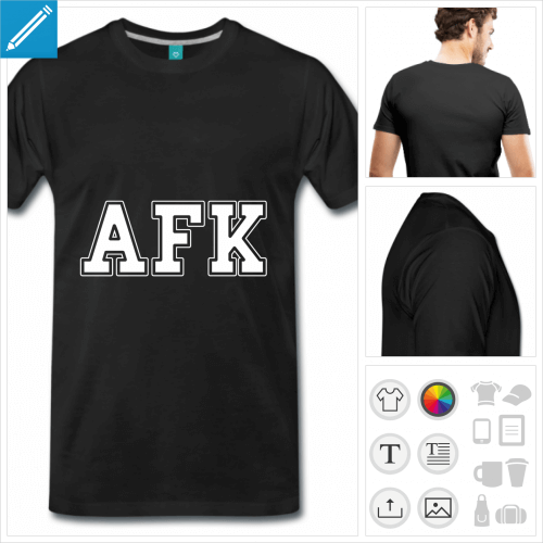 T-shirt gaming, t-shirt afk écrit en grandes lettres personnalisables, away from keyboard.