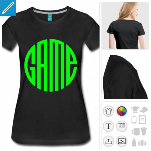 T-shirt gaming, game écrit en forme de cercle / idéograme une couleur à imprimer en ligne.