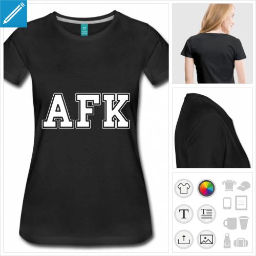 t-shirt noir afk à créer soi-même