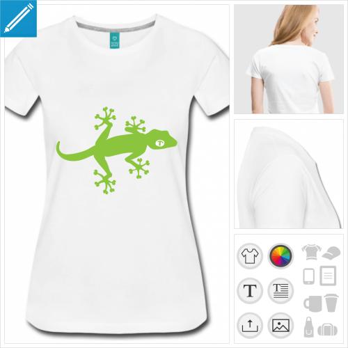 t-shirt gecko de profil à personnaliser, impression unique