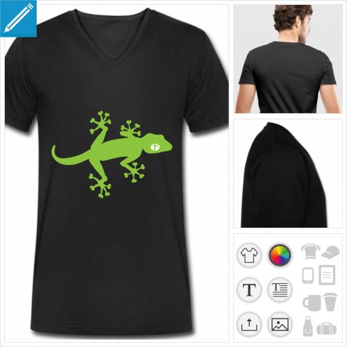 T-shirt gecko simple deux couleurs à personnaliser.