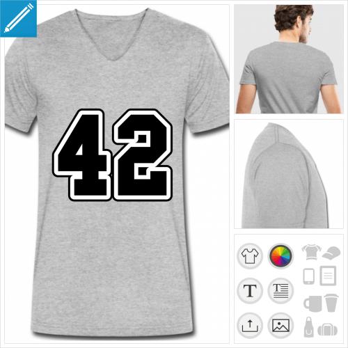 t-shirt bleu 42 à personnaliser et imprimer en ligne
