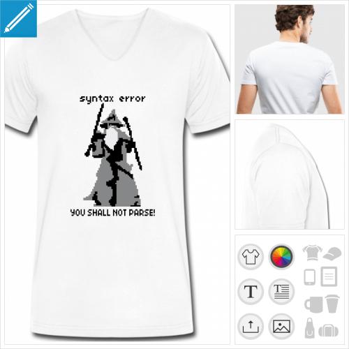T-shirt geek code, syntax error, you shall not parse, blague développeur.