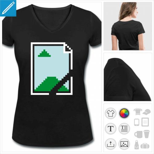 t-shirt col v image not found à créer en ligne