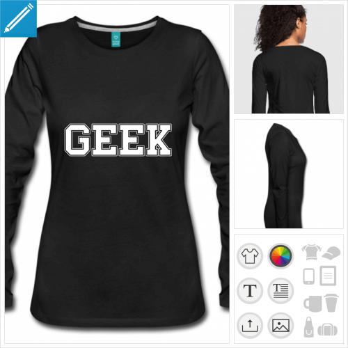 t-shirt noir nerd à créer en ligne