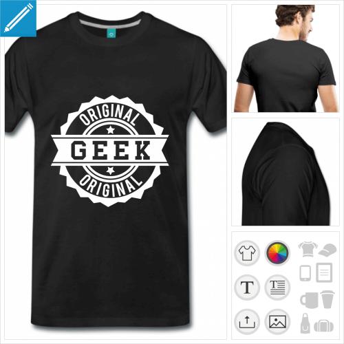 T-shirt geek retro, tampon geek original à imprimer sur t-shirt.