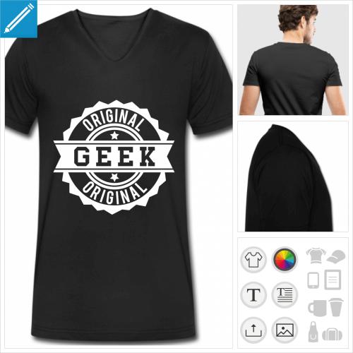 t-shirt manches courtes geek vintage à personnaliser en ligne