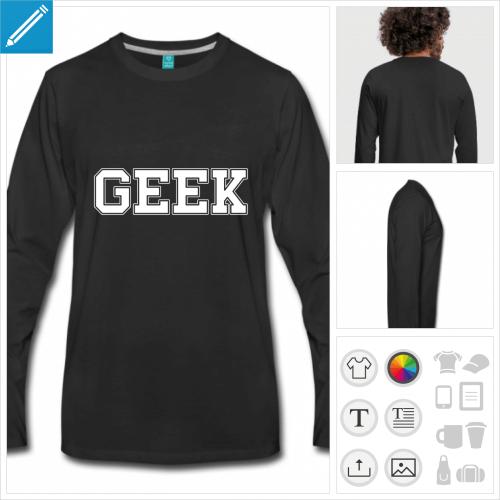 t-shirt noir geek à créer en ligne