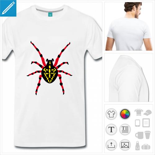 T-shirt grosse araignée tachetée de couleurs, à personnaliser en ligne.