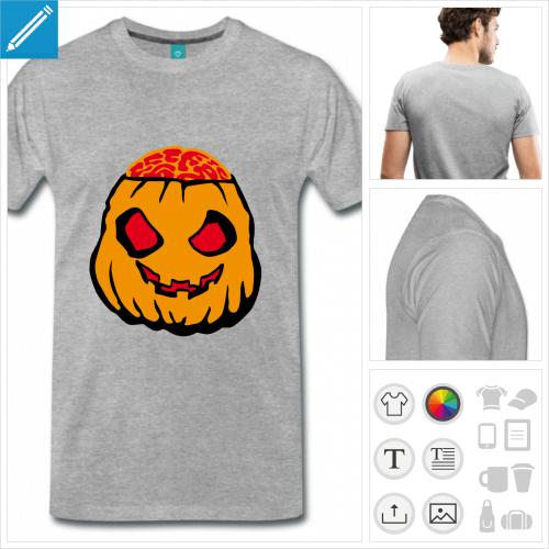 t-shirt citrouille zombie à personnaliser en ligne