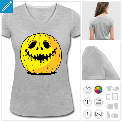 t-shirt femme Halloween citrouille à créer soi-même
