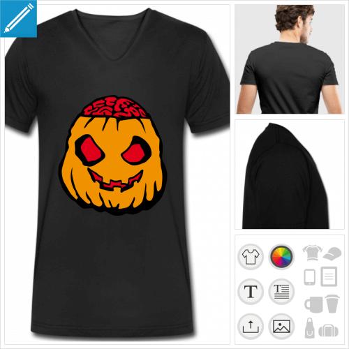 t-shirt manches courtes citrouille à créer en ligne