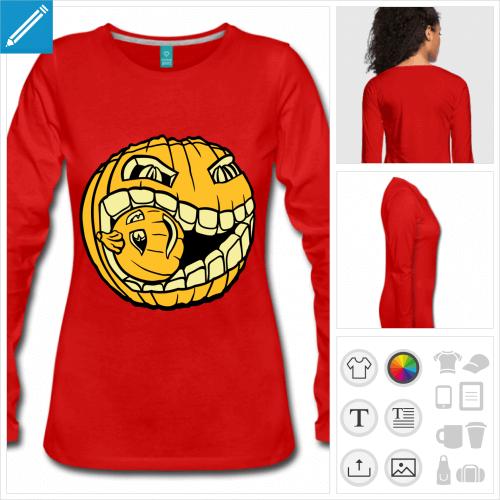 t-shirt citrouille Halloween à créer en ligne