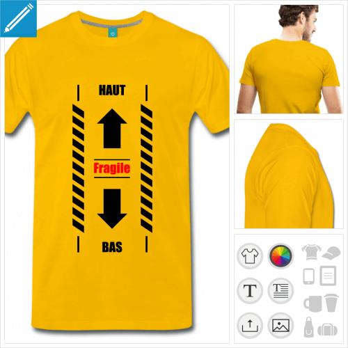 T-shirt haut bas fragile, fausse bande sécurité à imprimer en ligne.