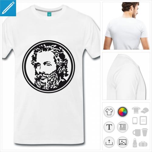 T-shirt Herman Melville, auteur de Moby Dick, à imprimer en ligne.