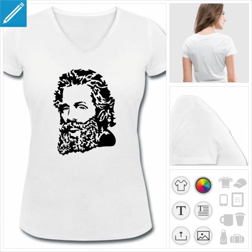 t-shirt femme écrivain personnalisable, impression à l'unité