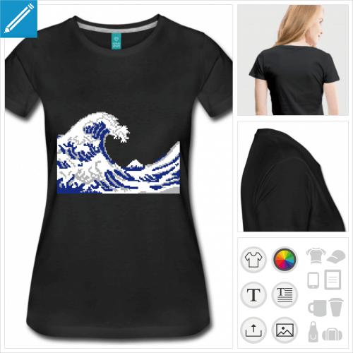t-shirt bleu marine hokusai à imprimer en ligne