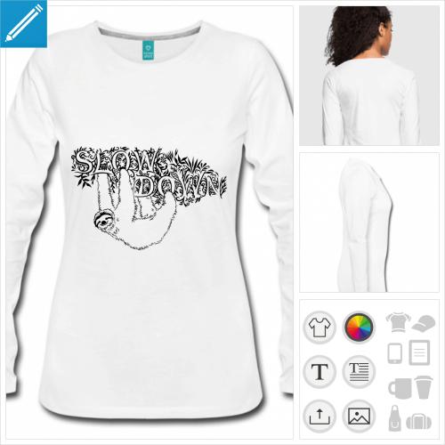 t-shirt femme slow paresseux à créer soi-même