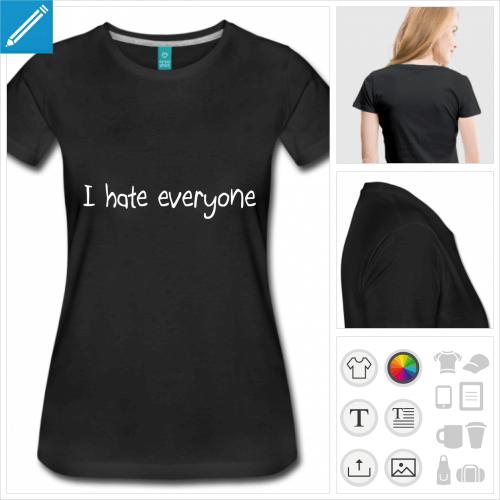 t-shirt manches courtes hate personnalisable, impression à l'unité