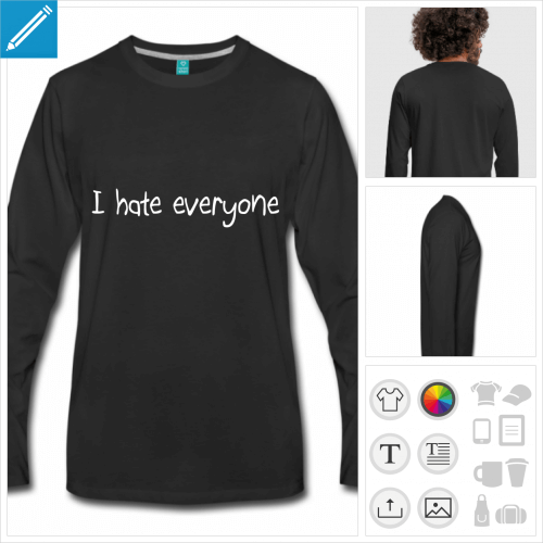 t-shirt noir hate à personnaliser