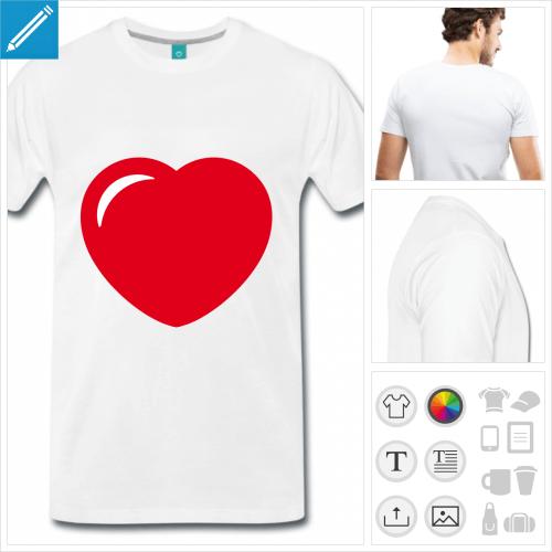 T-shirt I love à personnaliser, ajoutez votre texte pour accompagner le cœur.