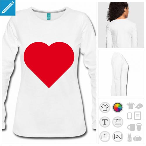 t-shirt femme coeur personnalisable