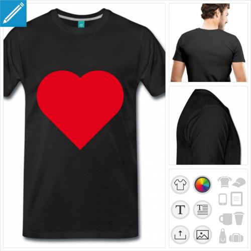 T-shirt I love, créez votre t-shirt I love personnalisé avec ce cœur simple pointu.