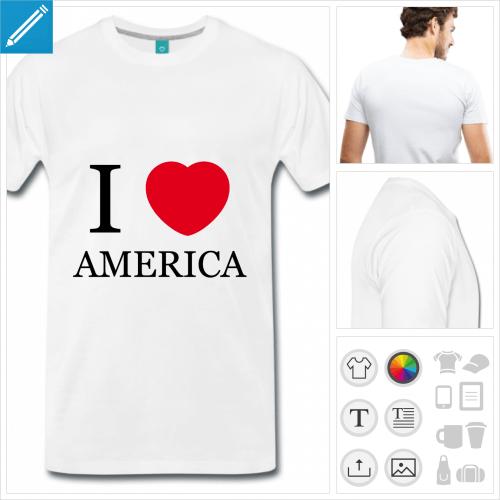T-shirt I love America avec typo classique et cœur rouge arrondi.