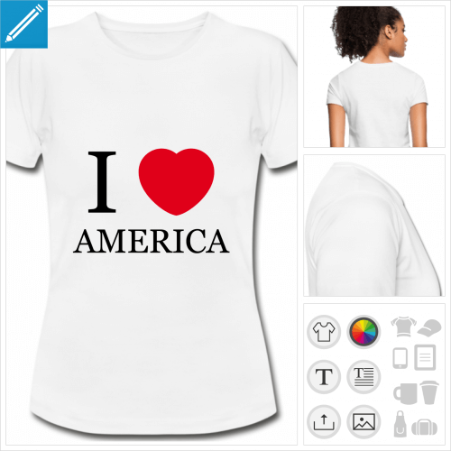 t-shirt femme America personnalisable