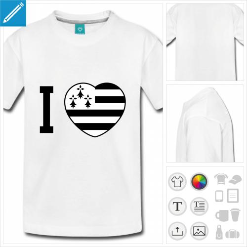 t-shirt basic I love Breizh à créer soi-même