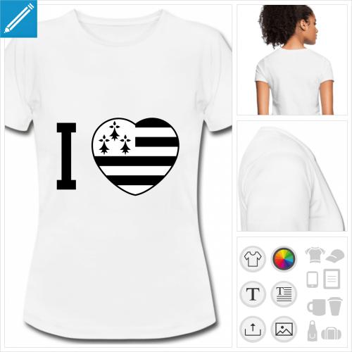 t-shirt blanc coeur drapeau breton à personnaliser et imprimer en ligne