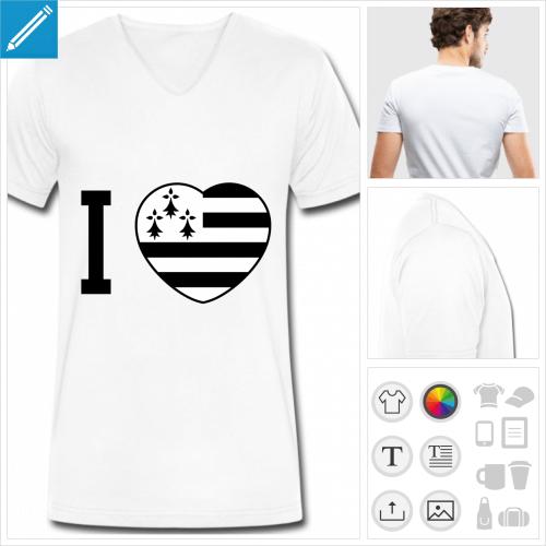 t-shirt simple coeur drapeau breton à personnaliser et imprimer en ligne