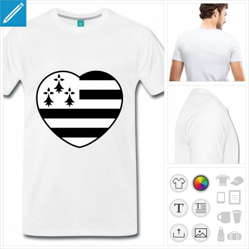 T-shirt I love Bretagne et cœur aux couleurs du drapeau breton à personnaliser, ajoutez votre texte.