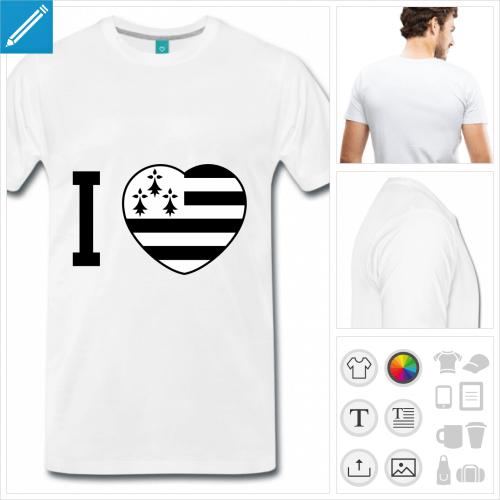 T-shirt I love Bretagne et cœur drapeau breton à imprimer en ligne.