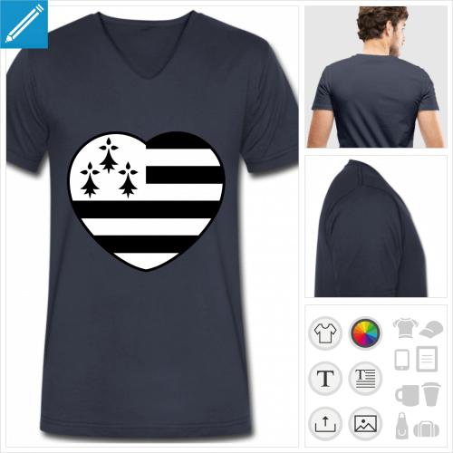 t-shirt bleu marine breton à créer en ligne