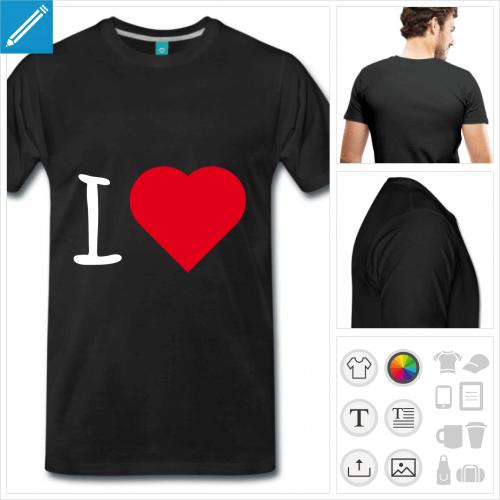 T-shirt I love cœur à compléter avec son texte.
