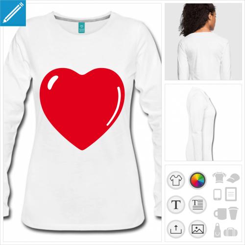 t-shirt manches longues coeur à créer en ligne
