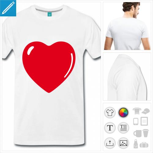 T-shirt I love cœur personnalisable à créer soi-même en ligne.