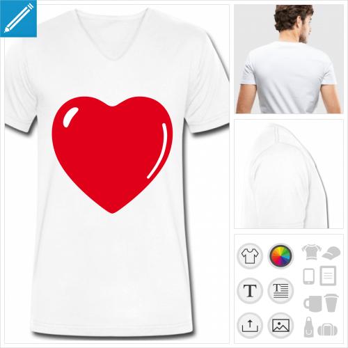 t-shirt homme I love à créer en ligne