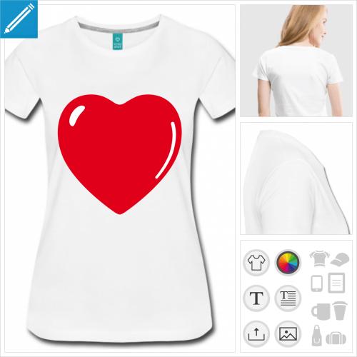 t-shirt femme coeur à créer soi-même