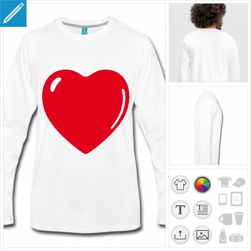 t-shirt coeur à personnaliser et imprimer en ligne