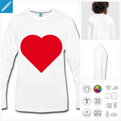 t-shirt i love personnalisable, impression à l'unité