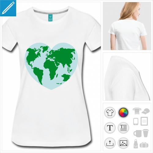 t-shirt femme coeur planète à personnaliser