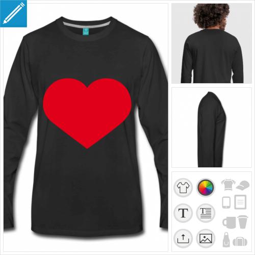 t-shirt manches longues coeur à personnaliser et imprimer en ligne