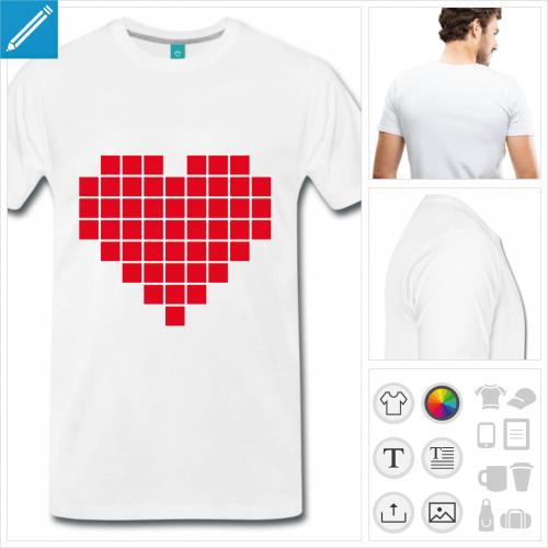 T-shirt I love pixel avec un coeur en pixels séparés.