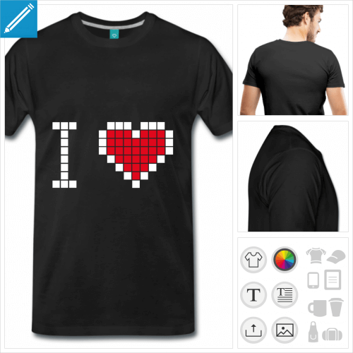 T-shirt I love pixel, coeur en pixels simple à personnaliser.